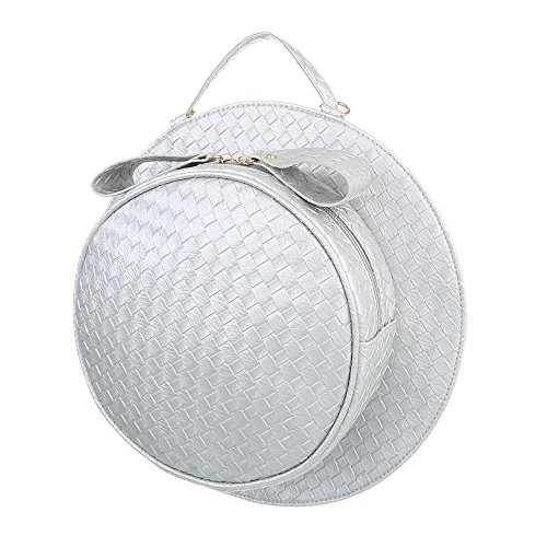 Ital-Design - Cartera de mano con asa de Material Sintético para mujer gris plateado