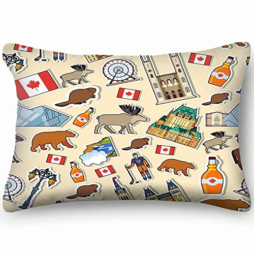 funny dog Pillow Cases Cotton 20x30 inch,Country Canada Travel Vacation Places Features Buildings Landmarks Montreal ()