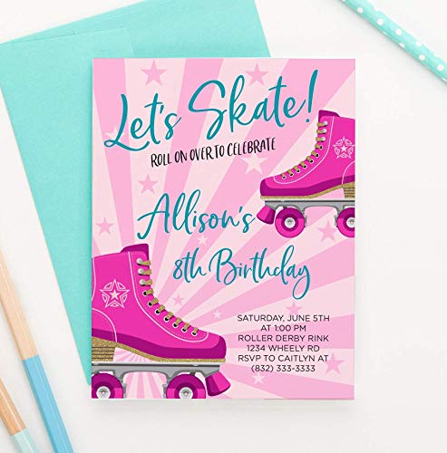 Roller Skating Party Ideas (Personalized Roller Skating Birthday Invitations for Girls, Your choice of Quantity, Age, Info and Envelope)