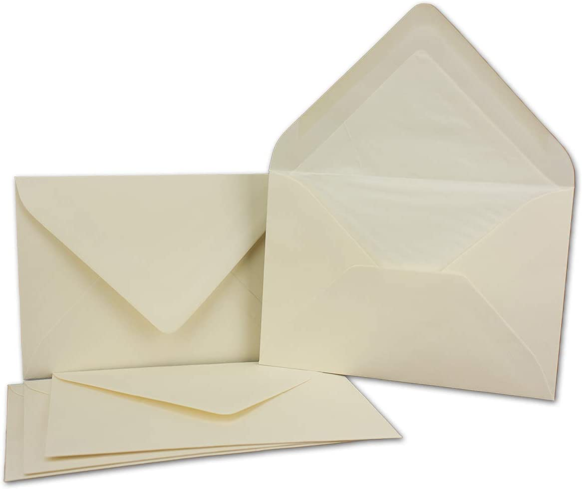 hochwertiges Seidenfutter f/ür Weihnachten /& Festliche Anl/ässe Kuverts in Wei/ß 25 St/ück Brief-Umschl/äge in DIN B6-12,5 x 17,6 cm Geripptes Papier