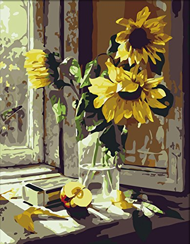 LOSTART DIY Oil Painting,Paint Number Kit Adult 16 20-inch (Warm Sunflower)]()