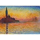 Wieco Art Dusk in Venice Canvas Prints of Oil Paintings by Claude Monet Giclee Art work for Wall Decor