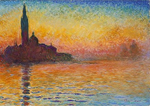 Wieco Art Dusk in Venice Claude Monet Oil Paintings Reproduction Modern Giclee Canvas Prints Landscape Pictures Artwork Paintings on Canvas Wall Art Home office Decorations (Art Print Canvas Deco)