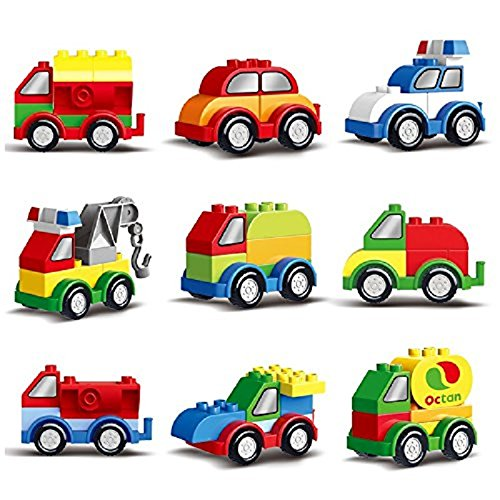 Prextex 60 Pieces Build Your Own Toy Cars Set Building Blocks Building Bricks by Prextex