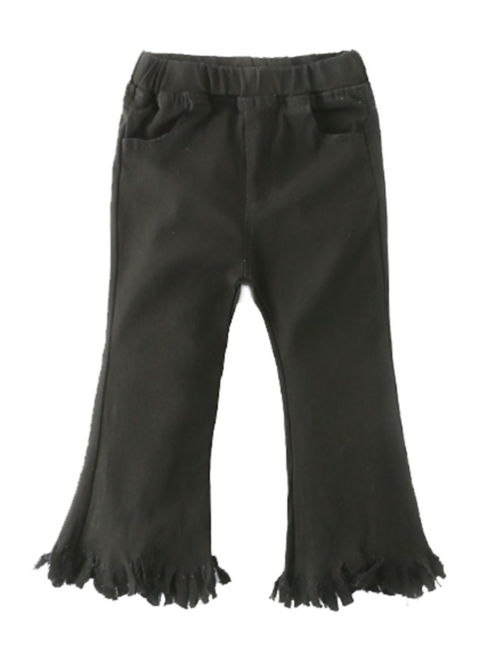 stylesilove Kids Girl Stretchy Pants with Frayed Hem (140/7-8 Years, Black)
