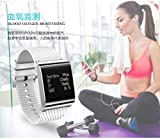 LJXAN Curve Screen Full Touch Screen Blood Pressure Smart Watch Bracelet Step Blood Pressure Heart Rate Blood Oxygen Sports Bracelet Fitness Running Tracker,White