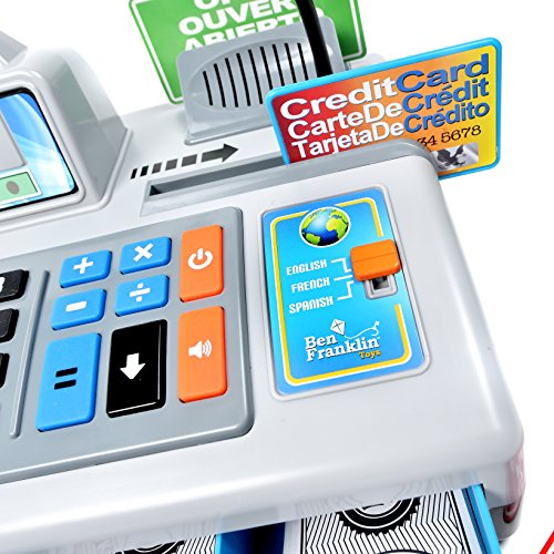 51Tx4I 9pML - Ben Franklin Toys Talking Toy Cash Register - store learning play set with 3 languages, paging microphone, credit card, bank card and play money