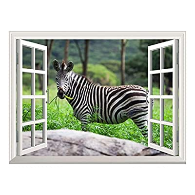 Removable Wall Sticker/Wall Mural - Forest View with a Zebra Walking by | Creative Window View Wall Decor - 36