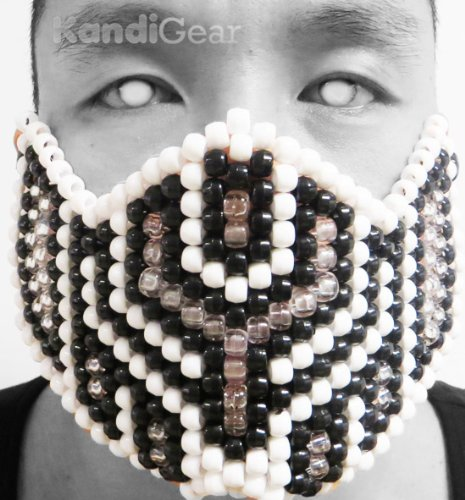 [Original Mask From Kandi Gear - White Shadow Kandi Bead Mask Full, Halloween] (Dark Shadows Halloween Costumes)