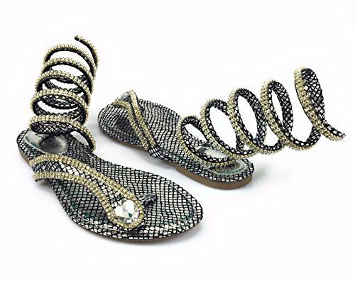 (BAMBOO Women's Rhinestone Snake Spiral Leg Wrap Flat Sandal Style Ruthless-01m (9, Silver) )