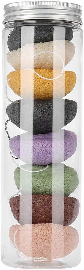 VIFER Round Flutter 8pcs Color Round Type 100% Konjac Wash Face Flutter Natural Facial Care Body Sponges (Dry)