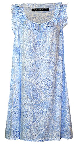 Ralph Lauren Plus Size Ruffled Floral Paisley Nightgown (White with Light/Medium Blue Floral Paisley Print, ()