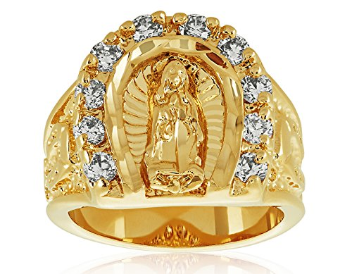 Large 18mm 14k Gold Plated Guadalupe Virgin Mary CZ Horseshoe Ring, Size 12.5 + Jewelry Polishing Cloth
