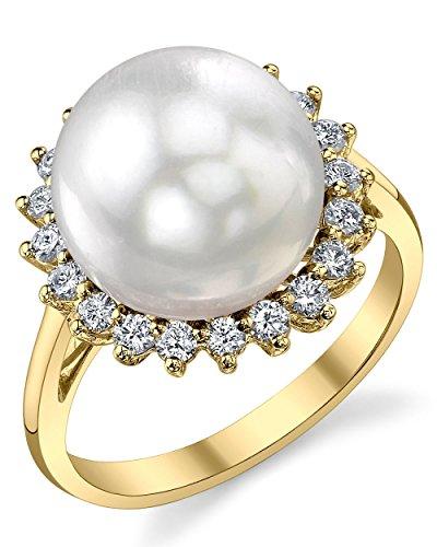 12mm White South Sea Cultured Pearl & Diamond Sage Ring in 18K (12mm Diamond Pearl)