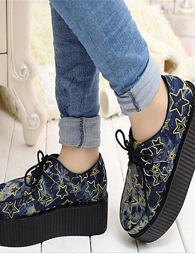 NJX/ Damenschuhe - Oxfords - Lässig - Denim Jeans - Plateau - Creepers / Rundeschuh - Blau blue-us6 / eu36 / uk4 / cn36