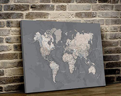 World Map poster, Push Pin MAP, Canvas World Map Wall Art, World Map Canvas, Push Pin Travel Map Poster