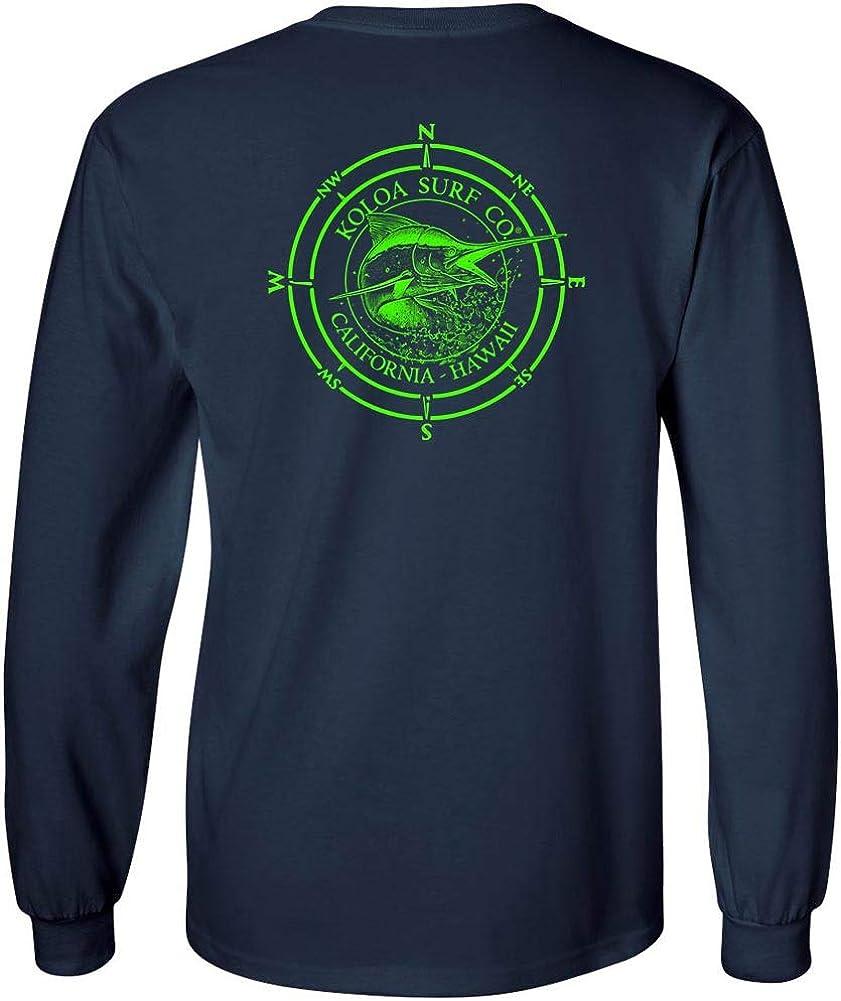 Joes USA Koloa Surf Long Sleeve Marlin Logo Heavy Cotton T-Shirt-Navy//Green-L