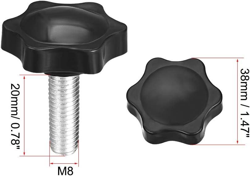 sourcing map vis serrage molette 38mm diam/ètre bouton hexagonal Prune Poign/ées M8/×60mm 10Pcs
