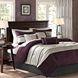 Madison Park Palmer 7 Piece Comforter Set - Plum - King - Pieced Microsuede - Includes 1 Comforter, 3 Decorative Pillows, 1 Bed Skirt, 2 Shams