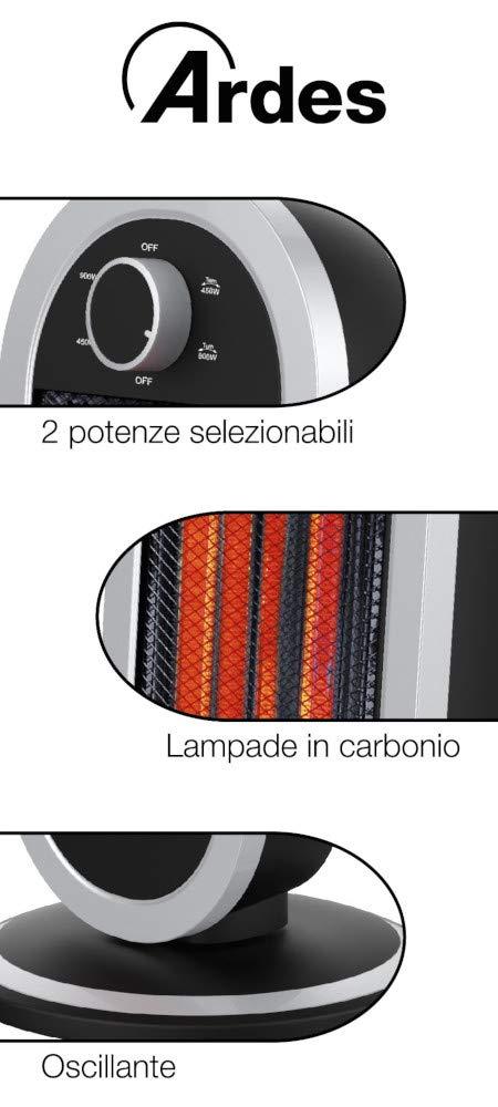 Ardes AR4B01 - Calefactor (Calentador infrarrojo, Fibra de carbono, Interior, Negro, Plata, 900 W): Amazon.es: Hogar
