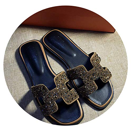 Alfalfa Plant New Crystal Slippers Summer Beach Sandals Women Slides Outdoor Slippers Indoor Slip Flops,Gold,9.5