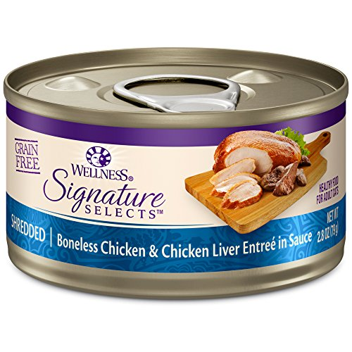 Wellness Core Signature Selects Grain Free Wet Canned Cat Food, Shredded Chicken & Chicken Liver, 2.8-Ounce (Pack Of 12)