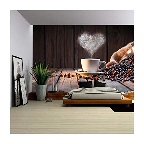 Cheap wall26 – Traditional Coffee Cup with Heart-Shaped Steam on Rustic Wood – Removable Wall Mural | Self-adhesive Large Wallpaper – 66×96 inches