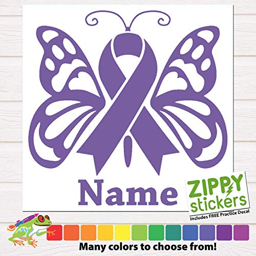 (Custom Cancer Memorial - Memoriam Butterfly Ribbon Vinyl Decal Sticker with Name, Cancer Ribbon Decal In Memory of Butterfly personalized for Car Windows, Yeti Rtic Tumblers, Laptops. Color Size Name)