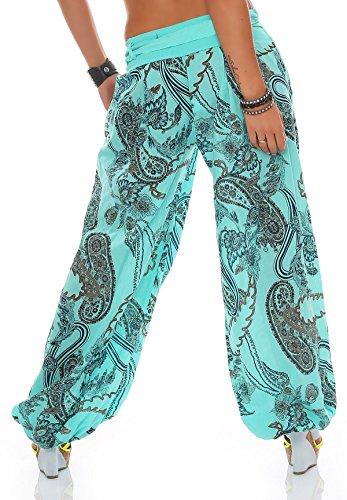 ZARMEXX Mujer Bombachos Pantalones Harén Pantalones de verano Pluder Aladin Bañador de playa Ornamento-imprimir Pantalones de algodón Mint
