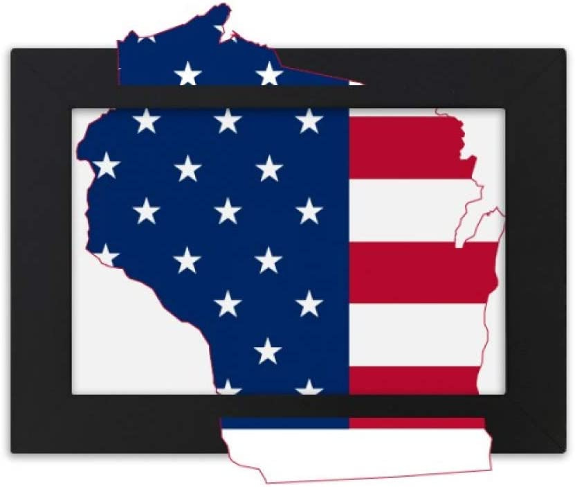 cold master DIY lab Wisconsin America Map Stars Stripes Flag Shape Desktop Photo Frame Black Picture Art Painting 7x9 inch