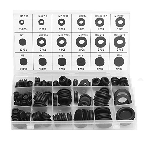 125pcs Rubber Grommet 18 Different Sizes Assortment O Ring Washer Set Wire Ring Assortment Set Electrical Gasket Tools,MOHOO