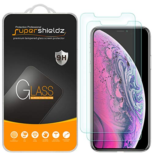 [2-Pack] Supershieldz for Apple iPhone Xs Max (6.5 inch) Tempered Glass Screen Protector, Anti-Scratch, Bubble Free, Lifetime Replacement