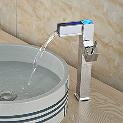Rozin® Chrome Tall Countertop Faucet LED Light Waterfall Spout Sink Mixer Tap