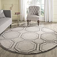 Safavieh Amherst Collection AMT411E Ivory and Light Grey Indoor/ Outdoor Round Area Rug (7 Diameter)