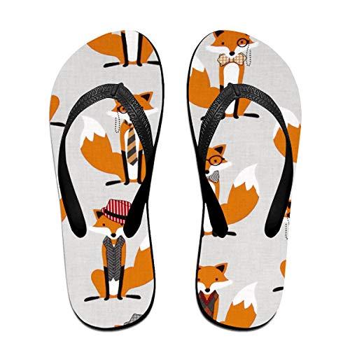 SummerTllo Houndstooth Foxes Mens Womens Sandals Flip Flops Thong Sandals Black