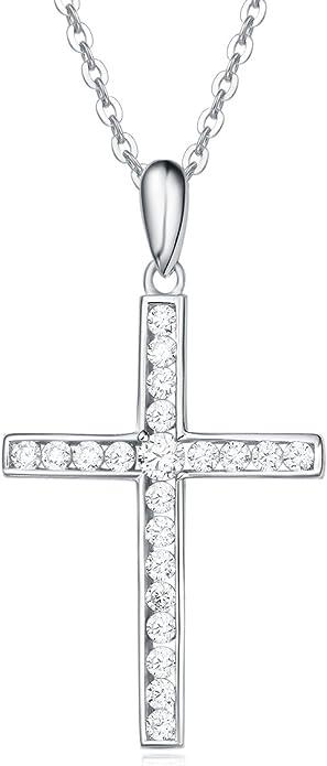 Foi Pendentif Croix Avec Zircone cubique Argent Sterling 925 bijoux cadeau 18 mm