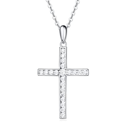 Amazon sterling silver channel setting cubic zirconia cross sterling silver channel setting cubic zirconia cross pendant necklace for women girls with 18 inch sterling aloadofball Image collections