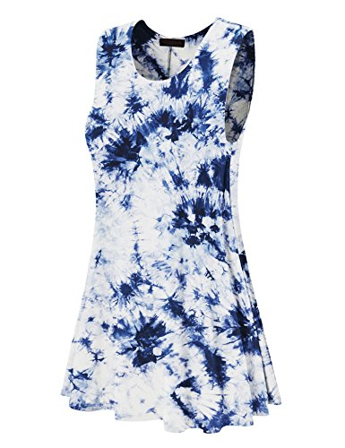 (Made By Johnny WDR1077 Womens Tie Dye Round Neck Sleeveless Trapeze Dress Tunic Top XL White_Navy)
