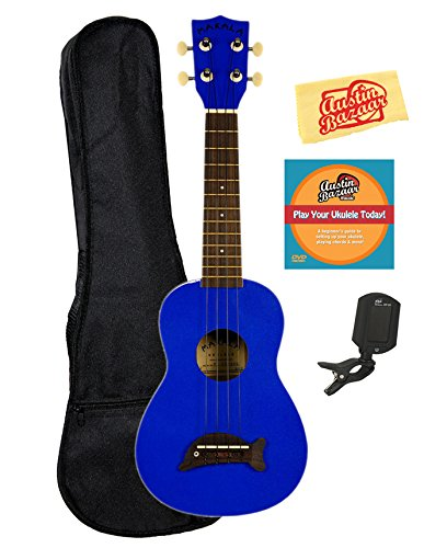 Kala MK-SD-MBL Makala Dolphin Soprano Ukulele - Metallic Blue Bundle with Gig Bag, Tuner, Austin Bazaar Instructional DVD, and Polishing Cloth