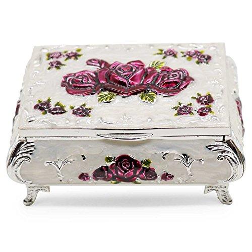 AVESON Luxury Vintage Rectangular Metal Alloy Jewelry Box Organizer Storage Box Ring Trinket Case for Women Girls, Christmas Birthday Gift, Medium, Silver & Purple