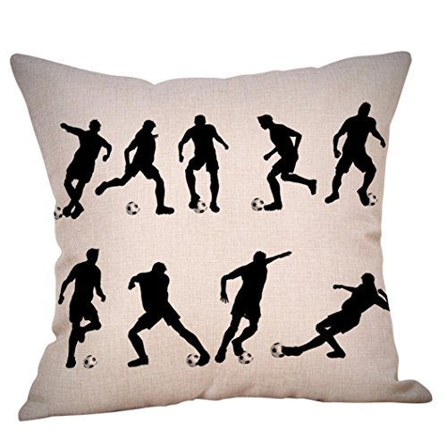 (LiPing World Cup 2018 Theme -17.7x17.7in/45x45cm Cartoon Polyester Cotton Soft Home Decor Cushion Cover Football Soccer Throw Pillowcase Pillow Covers (C))