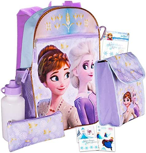 Disney Frozen Backpack and Lunch Box Bundle Set for Girls Deluxe 16 Frozen BackpackLunch Bag Water Bottle Stickers and More (Frozen School Supplies)
