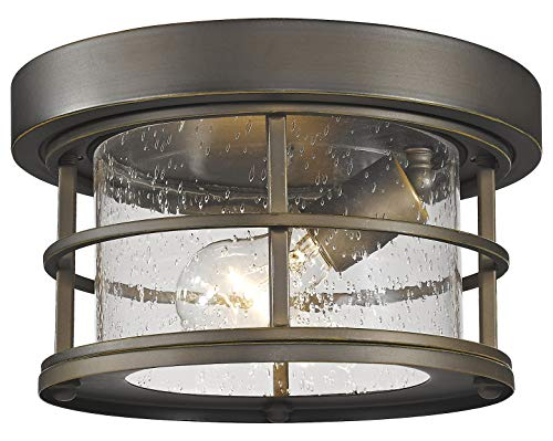 555F-ORB Oil Rubbed Bronze Exterior Additions Single Light 10″ Wide Outdoor Flush Mount Ceiling Fixture with Seedy Glass Shade
