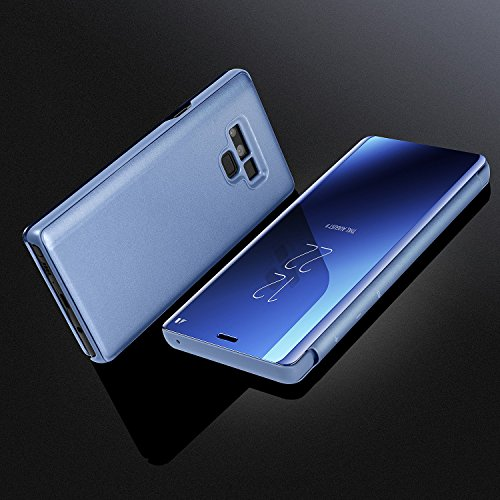 Galaxy Note 9 Case,WATACH Smart Clear View Makeup Mirror Electroplate Plating Kickstand Feature Full Body Protective Flip Folio Cover for Galaxy Note 9 (Blue) by WATACHE (Image #6)