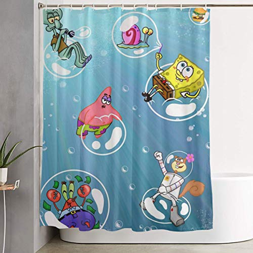 LYULIAN Spongebob Squarepants with Hook Stylish Shower Curtain Printing Waterproof Bathroom Curtain 60 X 72 Inches