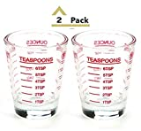 Shot Glasses Measuring cup 2018 Liquid Heavy Glass Wine Glass Espresso Shot Glass 26-Incremental Measurement 1 OZ 4 Features 45ML (2 pack-red 30ml)