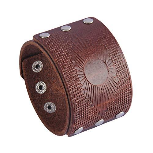 Jenia Mens Leather Cuff Bracelet Gothic Wrap Bracelets Vintage Belt Adjustable Punk Leather Wristbands for Men, Women, Boy, Girl, Rocker, Biker ()