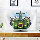 PRUNUS Front Flip Top Brazil,Brazil Landmarks,Travel and Retro Suitcase Front Flip Top W19 x H30 INCH/TV 32''