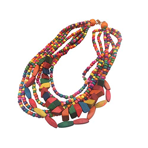 Multi Color Beads Necklace (Halawly Multicolored Beaded Wood Bead Layered Necklace)