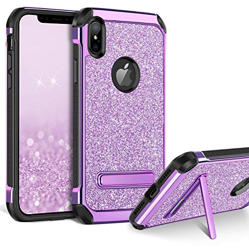 BENTOBEN Case for iPhone Xs Max, Kickstand Design Slim 2 in 1 Heavy Duty Shockproof Hybrid Soft TPU Bumper Hard PC Cover with Glitter PU Faux Leather Protective Case for Apple iPhone Xs Max, Purple